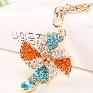 Ladies Keyring Windmill Crystal Charm Pendant